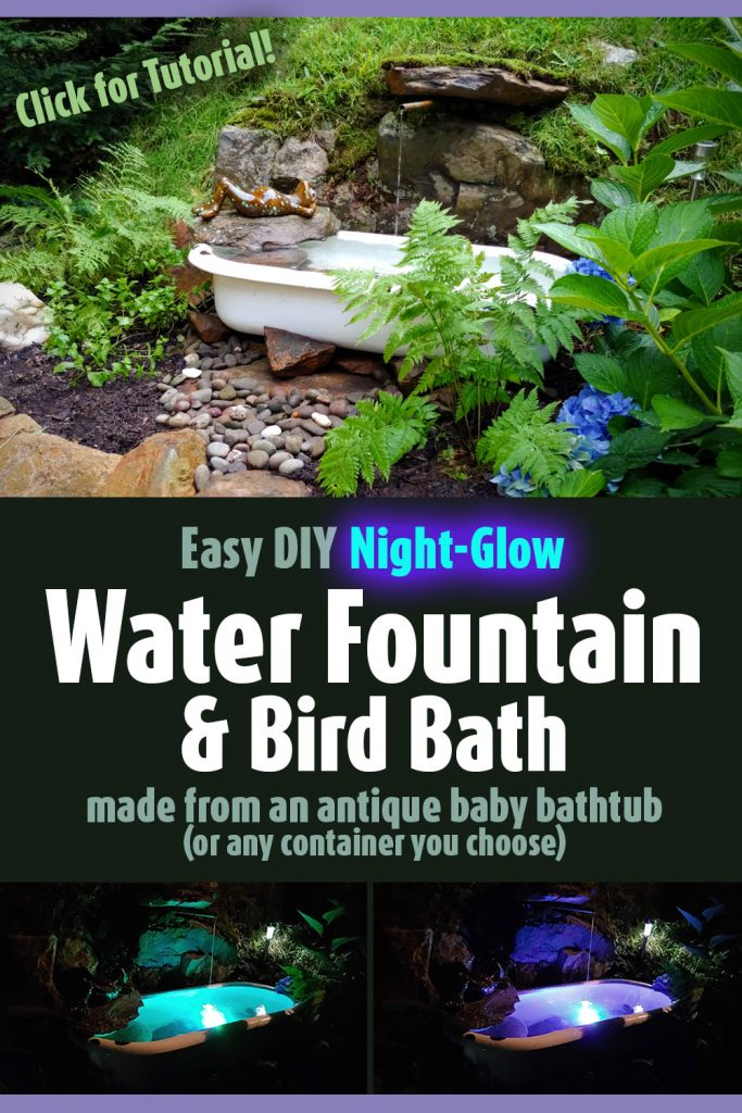 DIY Night Glow Backyard Water Fountain using an Antique Baby Bathtub or any water-tight container as a basin - Follow my easy tutorial to create a serene and peaceful bird bath water feature on your property. Perfect for a mediation sanctuary. Attract butterflies and wildlife to your backyard. It glows different colors at night!